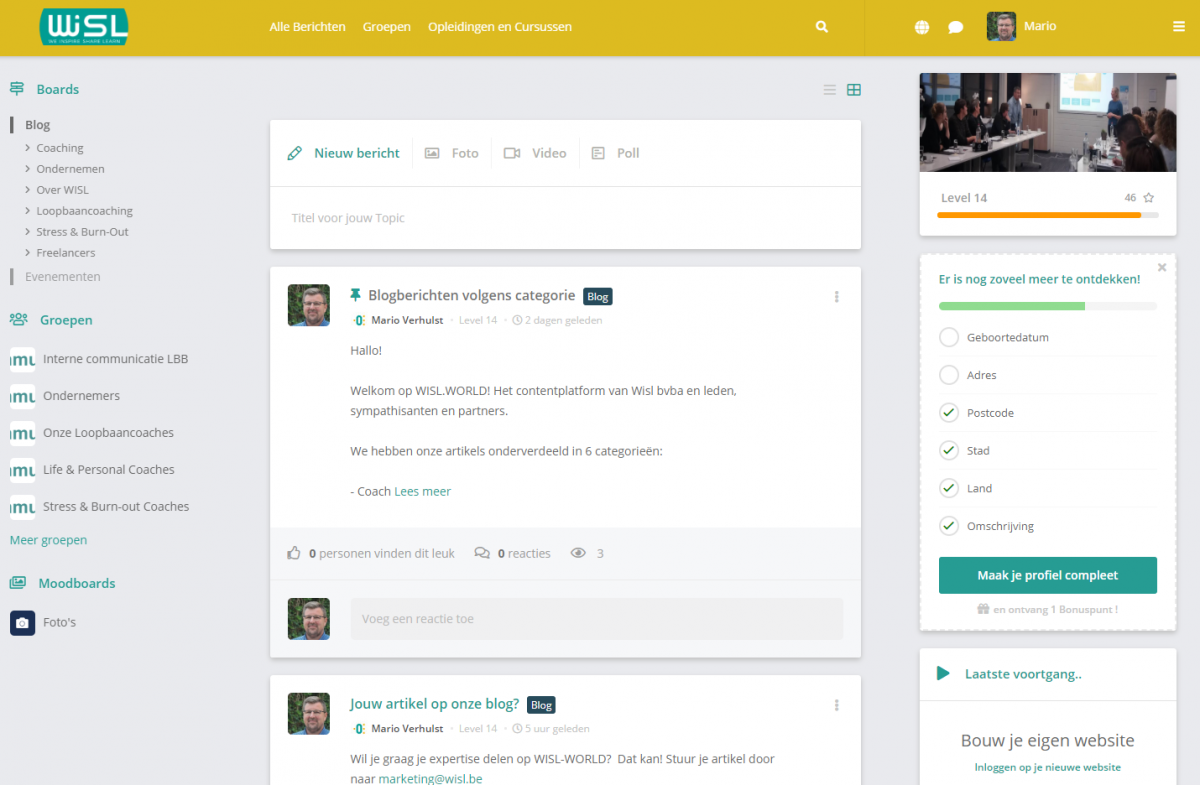 Community platform van WISL (Ondernemers en coaches aangesloten bij wisl delen hun expertises)